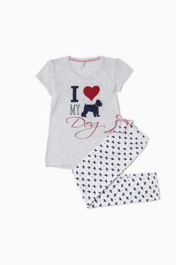 Printed cotton pyjamas, Light Grey, hi-res