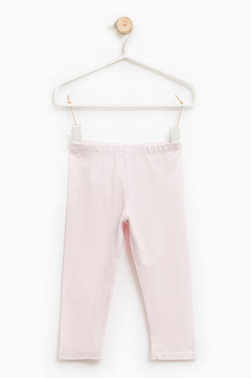Leggings en algodón elástico en color liso, Rosa claro, hi-res