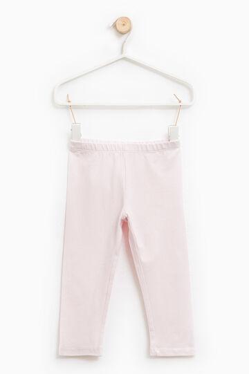 Leggings cotone stretch tinta unita, Rosa chiaro, hi-res