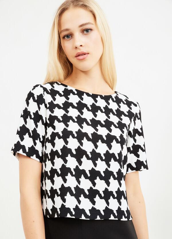 All-over herringbone print blouse.   OVS