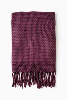 Solid colour scarf with fringe, Red, hi-res