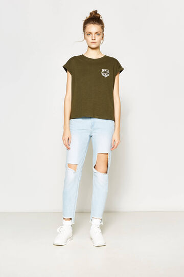 Girlfriend-fit worn-effect jeans with rips