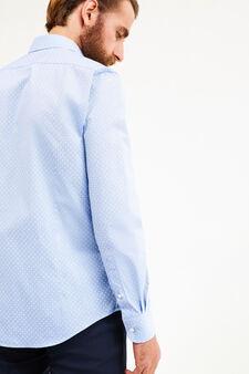 Slim-fit patterned formal shirt, Soft Blue, hi-res