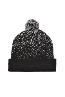 Beanie cap with pompom, Black, hi-res
