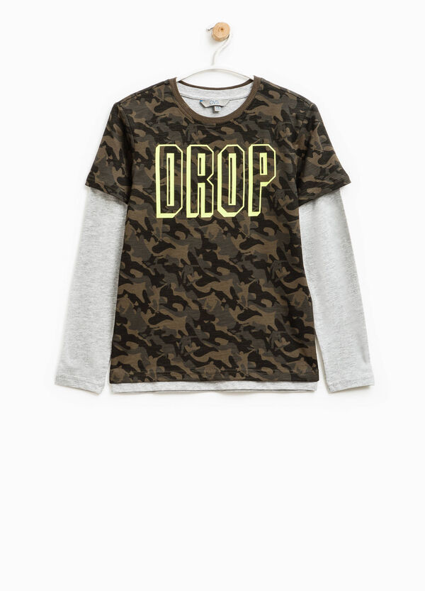 Camouflage T-shirt with faux layering | OVS