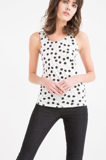 Printed top in 100% cotton, White, hi-res