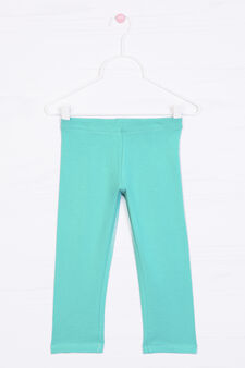 Solid colour stretch leggings, Green, hi-res