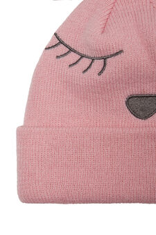 Embroidered beanie cap, Light Pink, hi-res