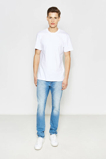 Slim-fit worn-effect jeans, Medium Wash, hi-res