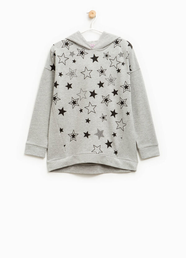 Printed stretch cotton sweatshirt | OVS