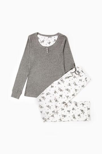 100% cotton owl pattern pyjamas, Dark Grey Marl, hi-res