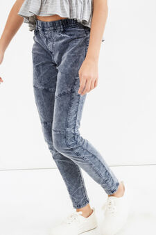 Teen mis-dyed stretch cotton trousers, Grey, hi-res