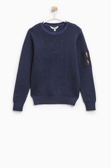 Pullover with sleeve pocket, Blue, hi-res