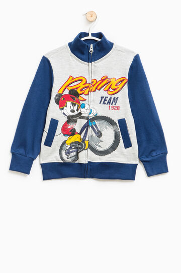 Cotton sweater with Mickey Mouse print, Grey/Blue, hi-res