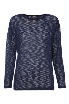Smart Basic patterned stretch T-shirt, Navy Blue, hi-res