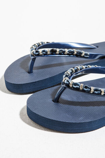 Rubber flip flops with beads and diamantés