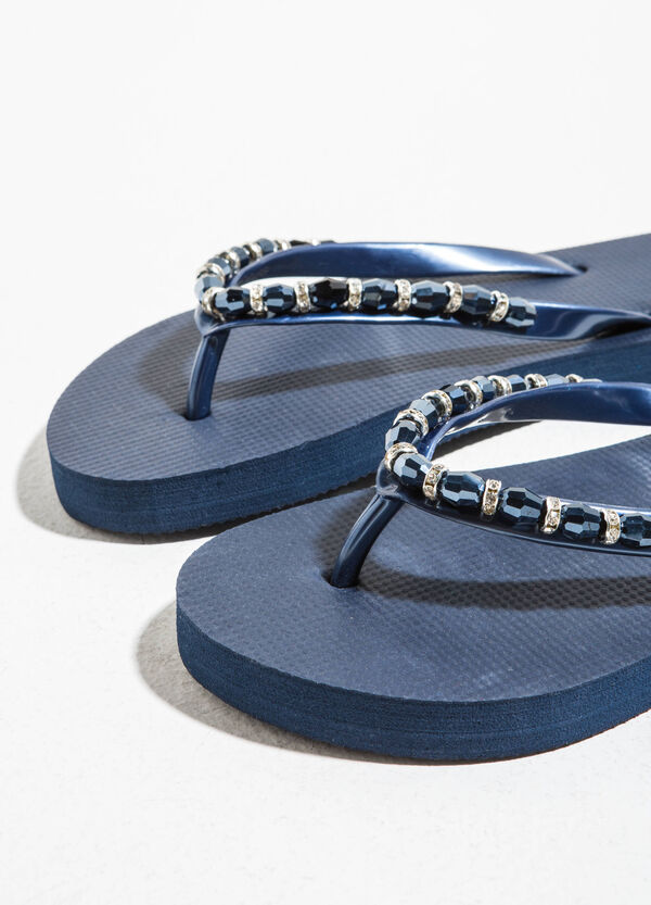 Rubber flip flops with beads and diamantés | OVS