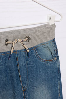 Jeans effetto used con coulisse, Denim, hi-res