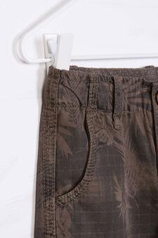 Patterned cotton Bermuda cargo shorts, Blue, hi-res