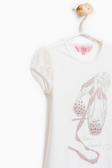 Printed stretch T-shirt, Milky White, hi-res