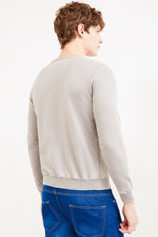 Cotton blend printed sweatshirt, Light Grey, hi-res