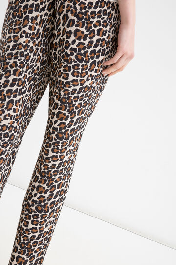 Stretch trousers with animal pattern, Brown, hi-res