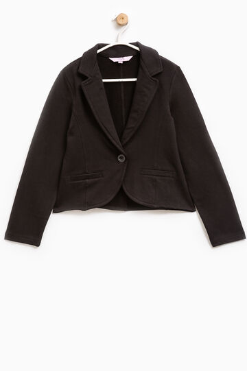 Solid colour stretch cotton sweatshirt, Black, hi-res