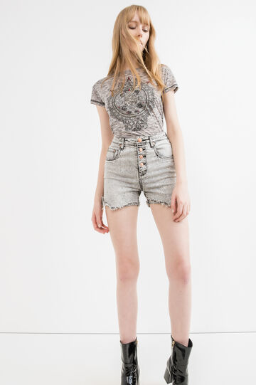 Viscose T-shirt with lace insert on the back, Grey Marl, hi-res