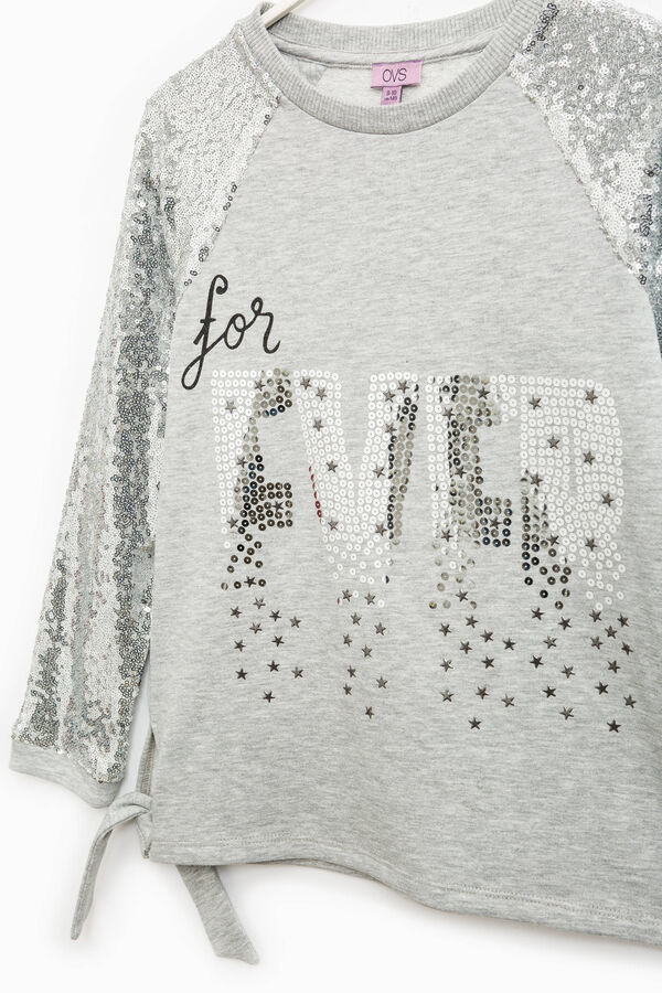 Sweatshirt with slit with bow and sequins | OVS