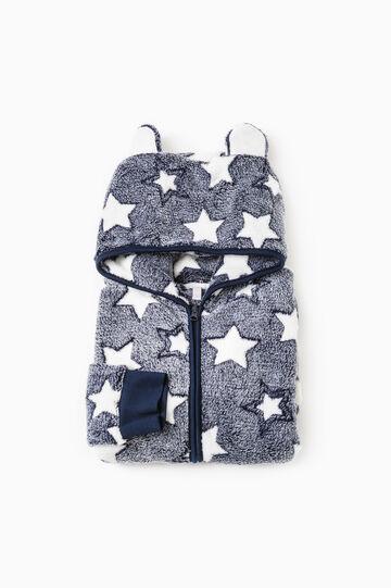 Felpa pigiama in pile fantasia stelle, Blu navy, hi-res