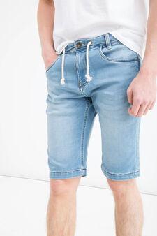 Slim-fit stretch denim Bermuda shorts, Denim, hi-res