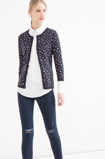 100% cotton printed cardigan