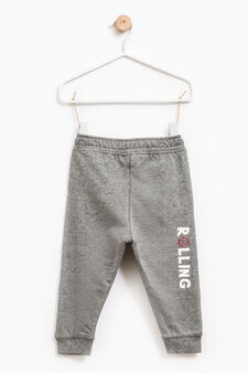 Cotton joggers with drawstring, Dark Grey, hi-res