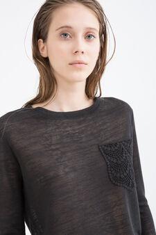 Viscose blend sweatshirt with small pocket, Black, hi-res