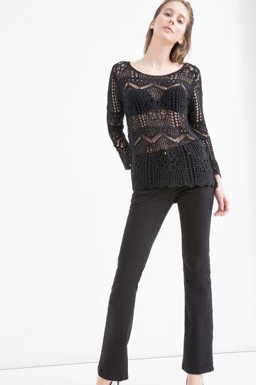 Knit openwork pullover, Black, hi-res