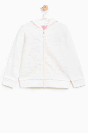 Stretch cotton sweatshirt with lace, Milky White, hi-res
