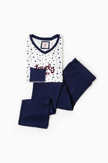 Star pattern cotton pyjamas, White/Blue, hi-res