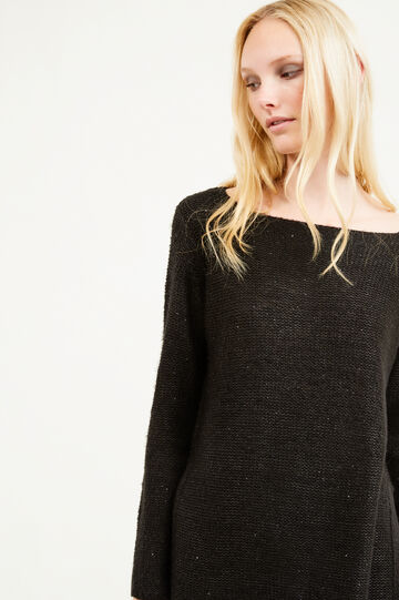 Solid colour pullover with sequins, Black, hi-res