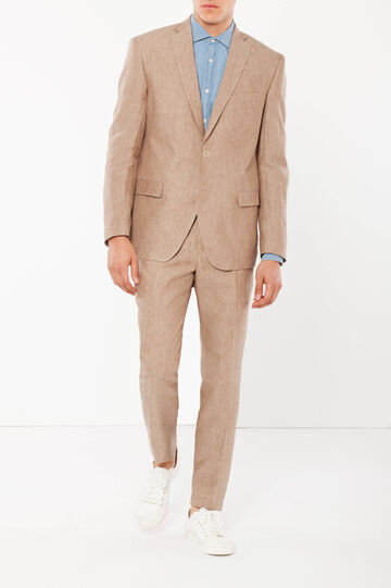 Regular fit jacket in 100% linen, Beige Marl, hi-res