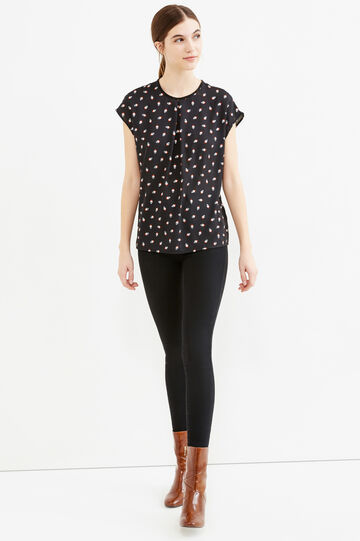 Short-sleeved patterned blouse, Black, hi-res