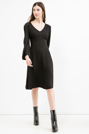 100% viscose dress with bell-bottom sleeves, Black, hi-res