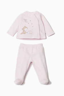 Embroidered cotton blend outfit, Pink, hi-res