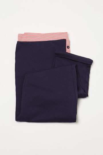 Striped pyjama trousers in 100% cotton, Navy Blue, hi-res