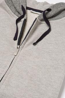 Pyjama hoodie top, Grey, hi-res