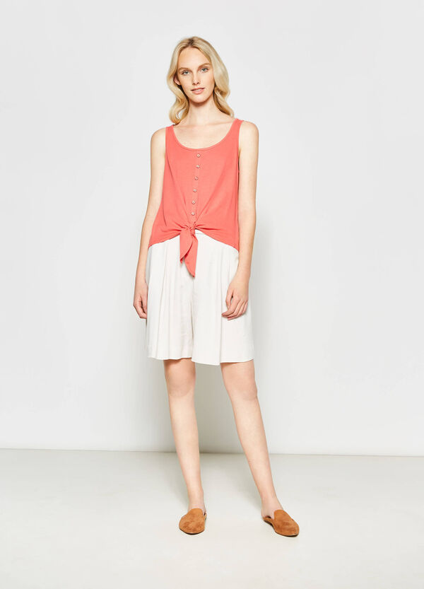 Cotton top with ties at the hem | OVS