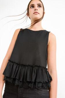 Viscose blend top with lace frills, Black, hi-res