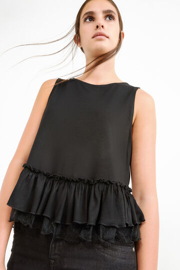Viscose blend top with lace frills, Black, hi-res