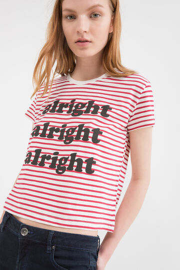 Striped patterned cotton crop T-shirt