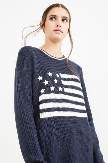 Embroidered knitted pullover, Navy Blue, hi-res