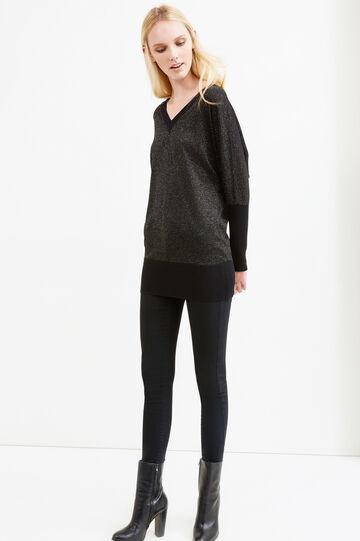 Knitted V-neck and lurex pullover, Black, hi-res